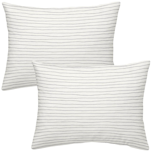 Organic Cotton Toddler Pillowcase - Thistle Grey Groovy Stripes-Makemake Organics