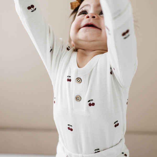 Organic Cotton Top & Bottoms Pajama Set - Cherry-Makemake Organics