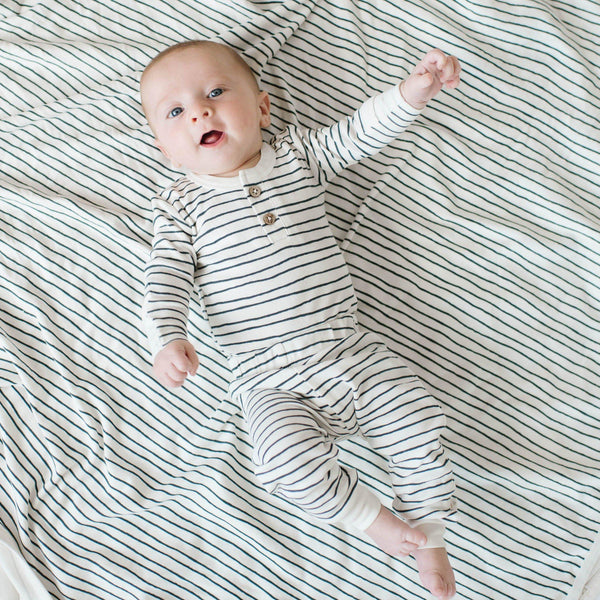 Organic Cotton Top & Bottoms Set - Cobi Blue Stripes-Makemake Organics