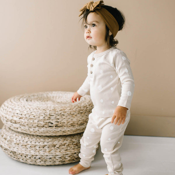 Organic Cotton Top & Bottoms Set - Eli Oat Polka-Makemake Organics