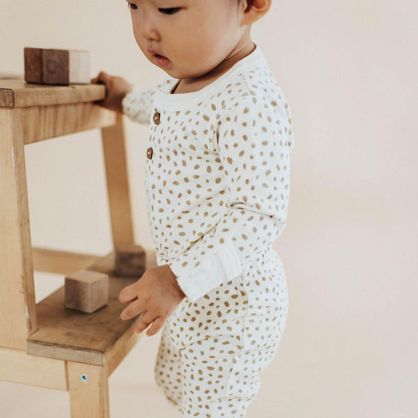 Organic Cotton Top & Bottoms Set - Nola Brown Dots-Makemake Organics