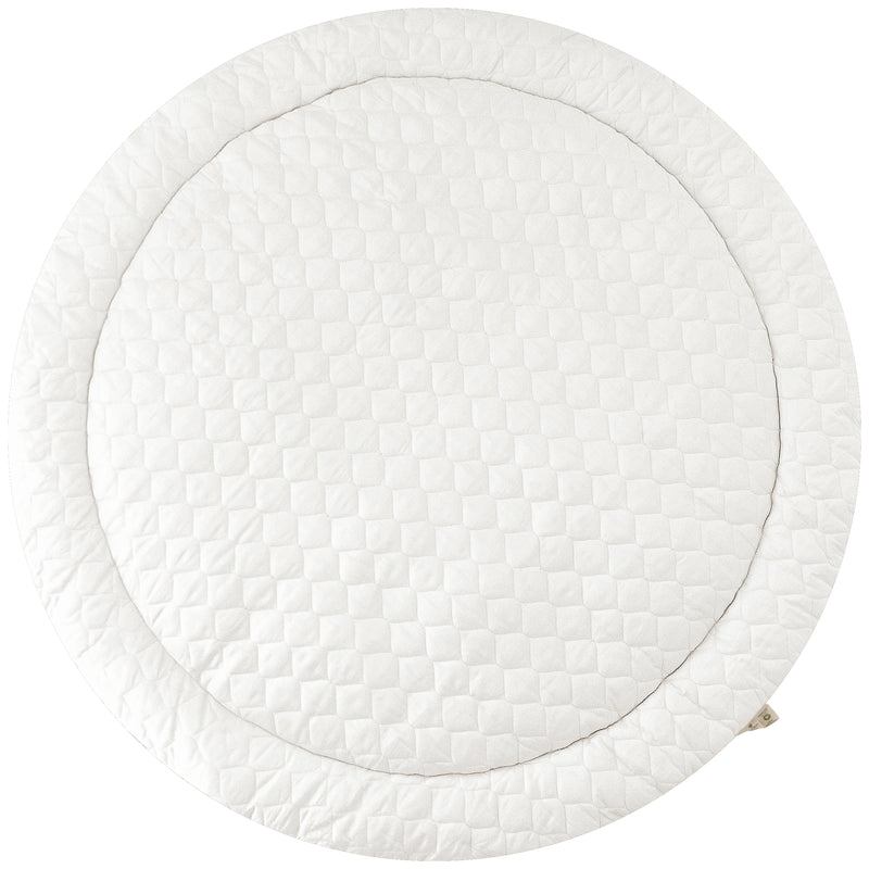 Organic Cotton Quilted Round Play Mat -  Vanilla White