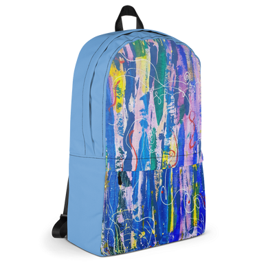 Backpack- Bold Abstract Graffiti Art Print Unisex Backpack (Blue) - Salt and Light Prism Arts