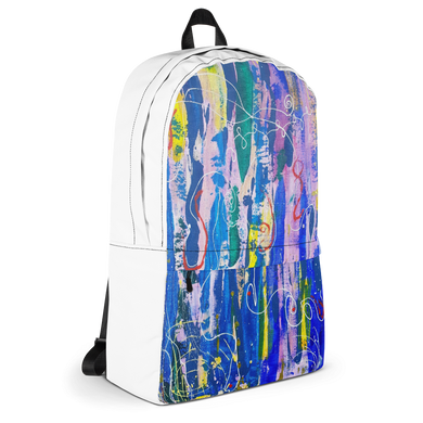 Backpack- Bold Abstract Graffiti Art Print Unisex Backpack  (White) - Salt and Light Prism Arts