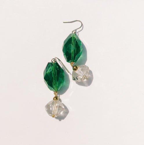 Crystal earrings -green-