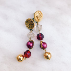 Bonbon earrings -gold×red-