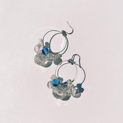 Ocean bubbles earrings -blue-