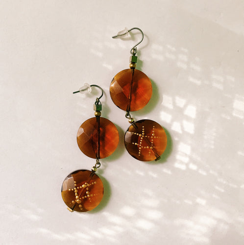 Glass earrings -amber-