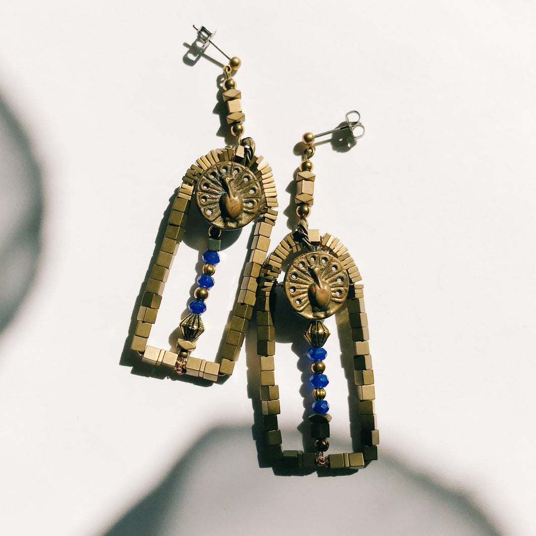 Door earrings -blue-