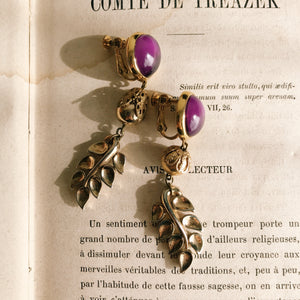 Japanese vintage earrings -leaf-