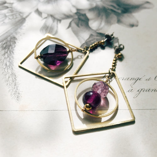 Chandelier earrings -Violet-