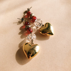 Heart bonbon earrings -short-