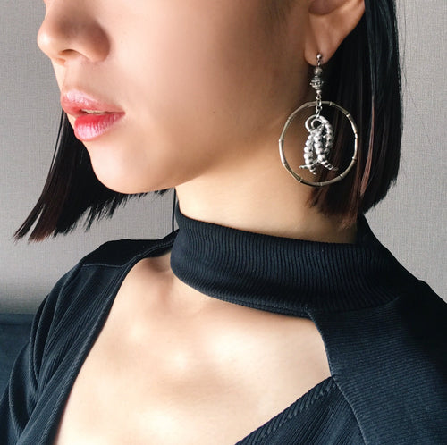 Bone hoop earrings