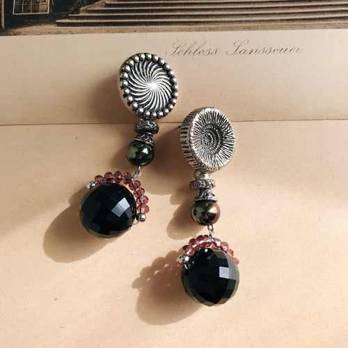 Bonbon earrings -black/silver-