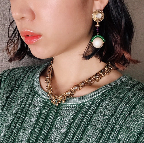 Bonbon earrings -green/gold-