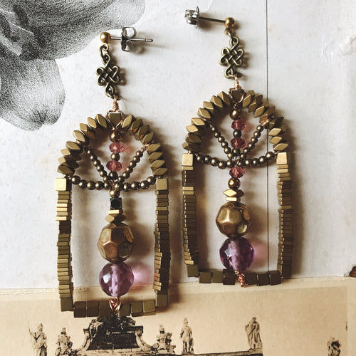 Door earrings -purple-