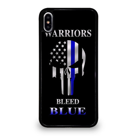 BLUE LINE POLICE WARRIOR SKULL iPhone XS Max Case