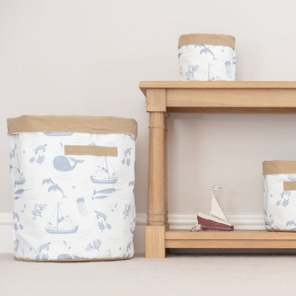 Large Coastal Storage Basket 'Cornish Sea'