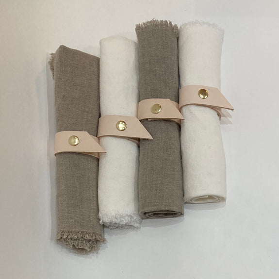 Natural Leather Napkin Rings, Set of 4