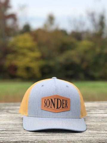 Sonder Leather Patch Trucker Hat - Heather Grey