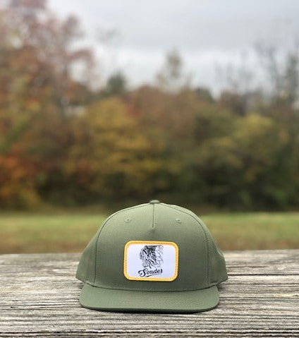Vintage Indian Flat Bill Hat - Army Olive