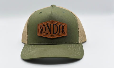 Sonder Leather Patch Trucker Hat - Army Olive