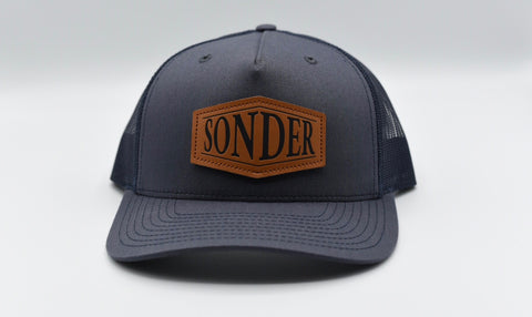Sonder Leather Patch Trucker Hat - Ombre Blue