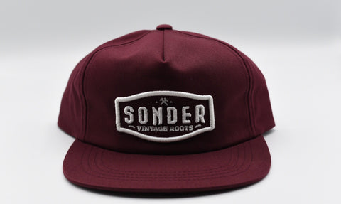 Sonder Vintage Roots Embroidered Flat Bill - Maroon