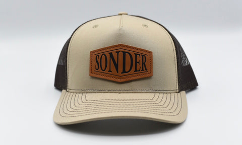 Sonder Leather Patch Trucker Hat - Khaki