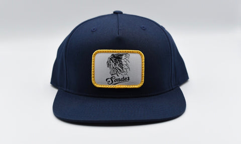 Vintage Indian Flat Bill Hat - Navy