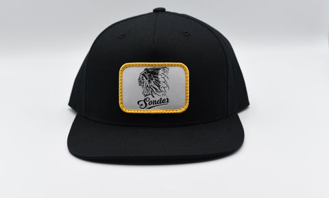 Vintage Indian Flat Bill Hat - Black