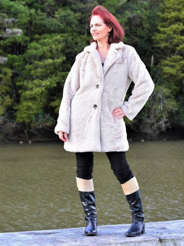Fun Fur Coat - Silver white