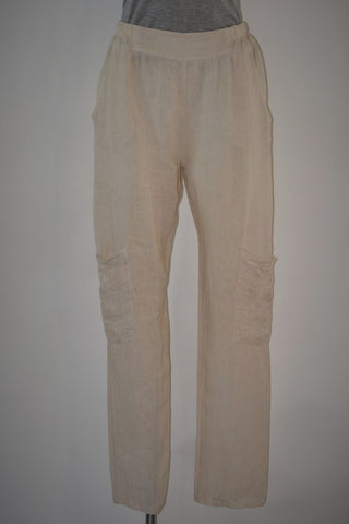 Linen Pants With Embroidered Pockets - 5 colours