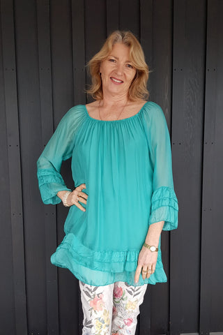 Silk Long Tunic Blouse