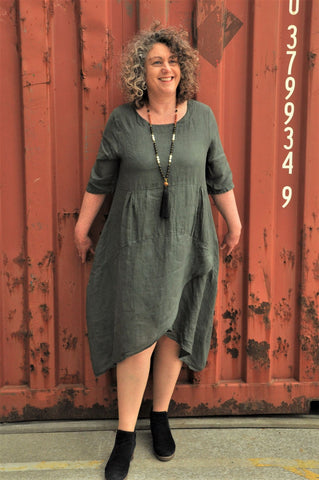 Women's Relaxed Linen Maxi Dress