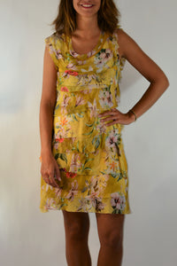 Tallulah Tiered Silk Floral Dress - Yellow