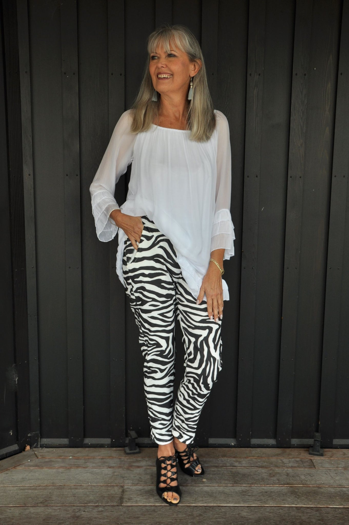 Zebra Print Stretch Cotton Capri Pants