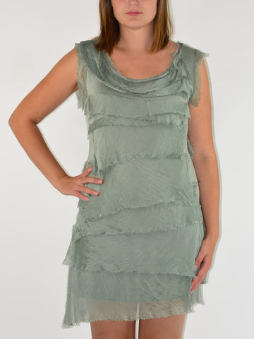 Tallulah Tiered Silk Dress Sage Green