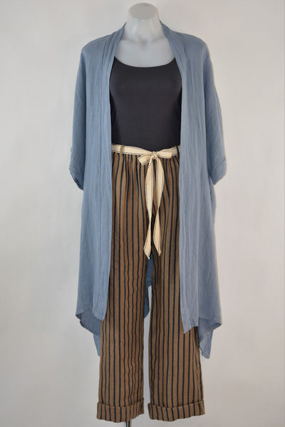 Striped Linen Pants With Belt