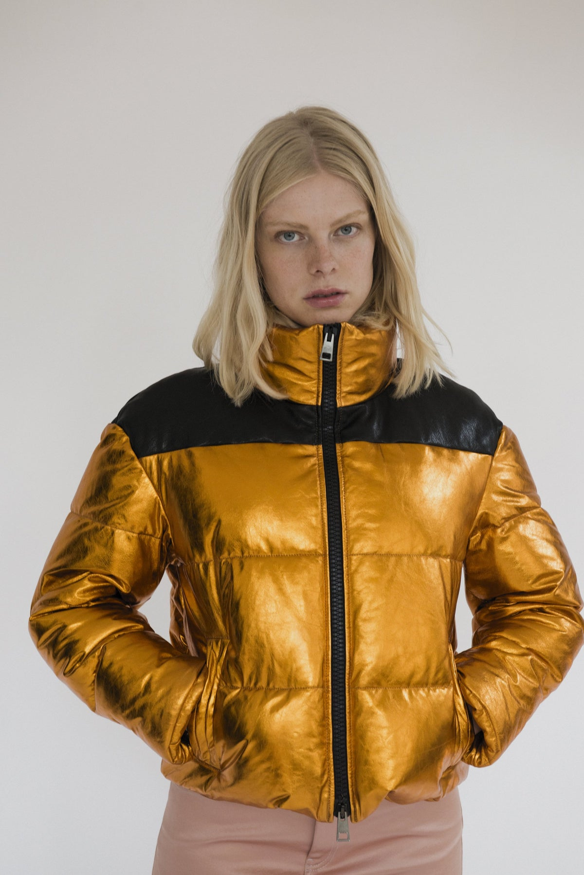 Leather Puffer Orange