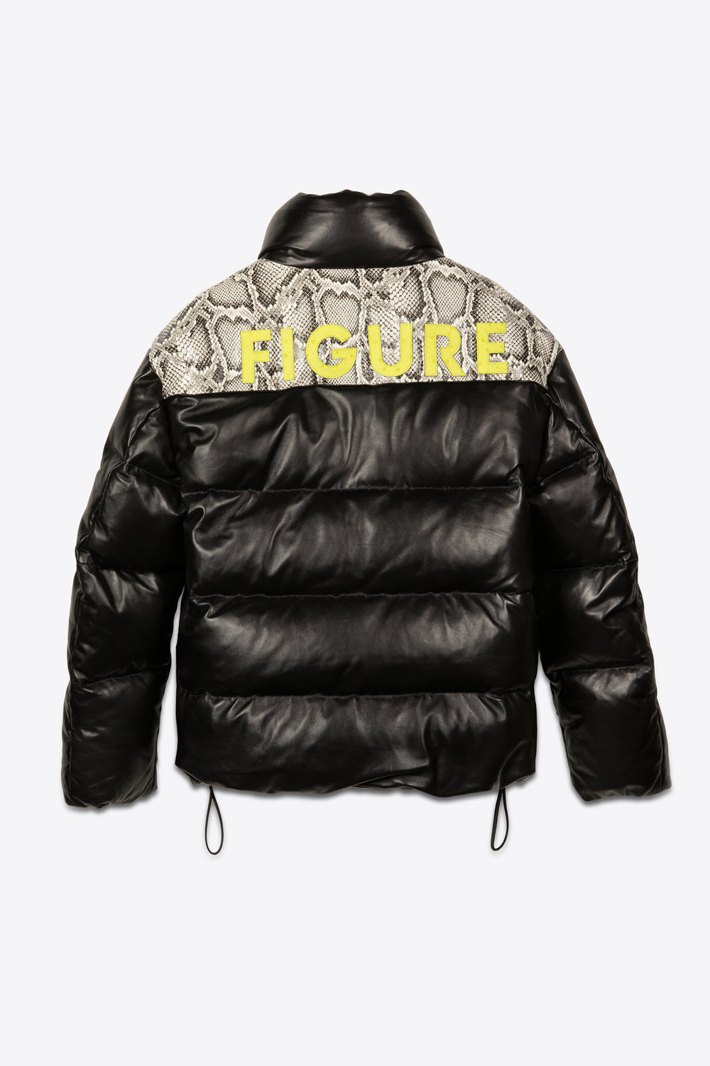 Leather Puffer Black and White Python