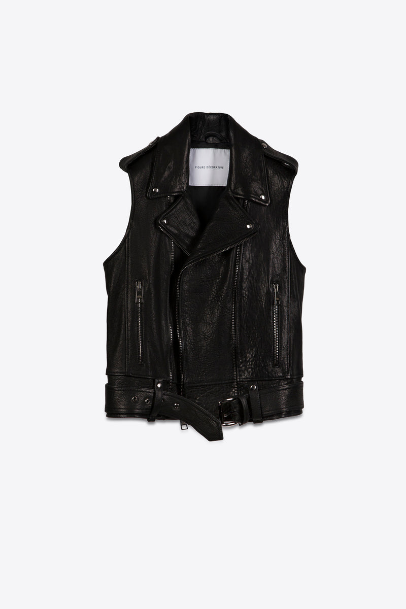 Leather Vest Black Man