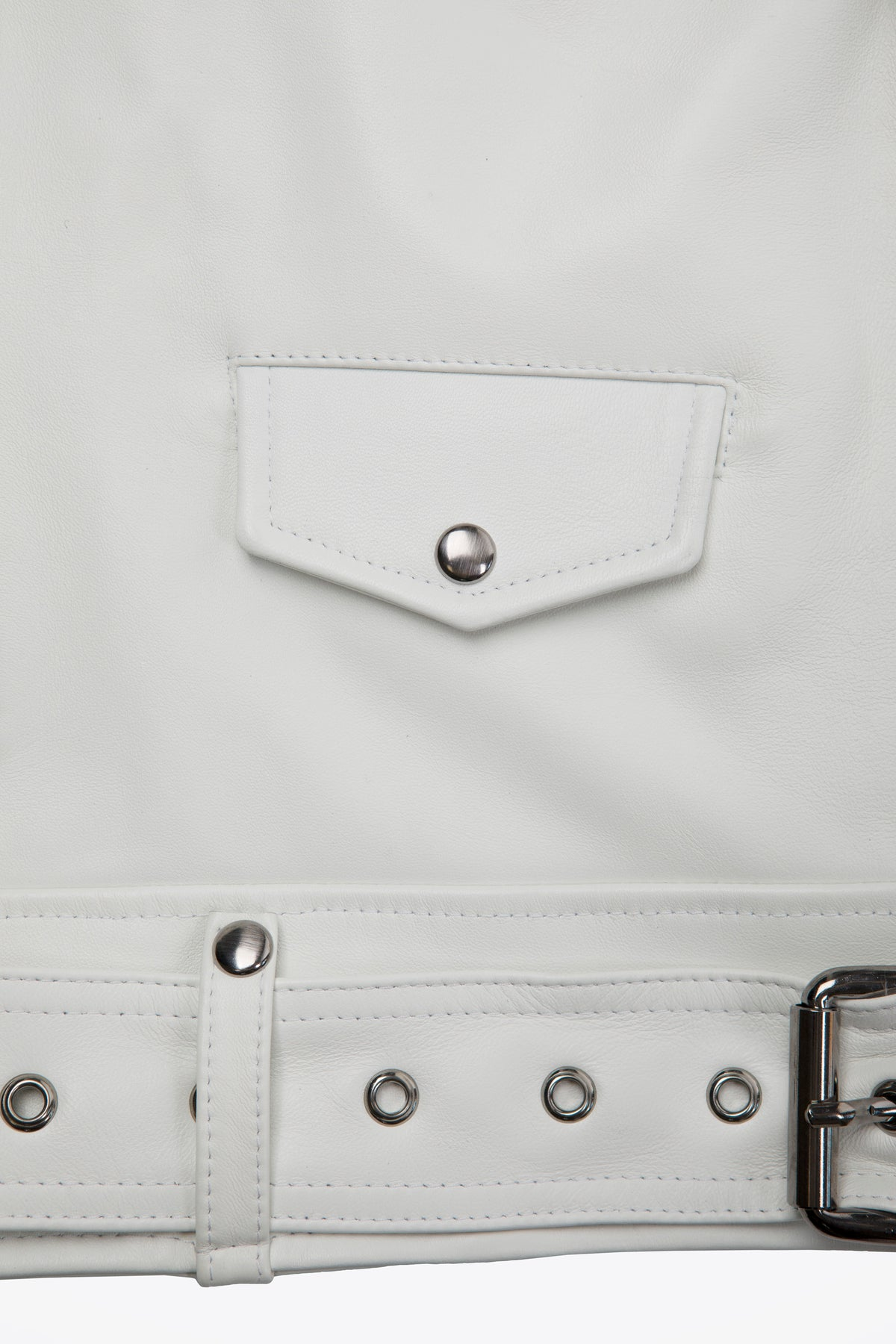 Leather Biker White Zip