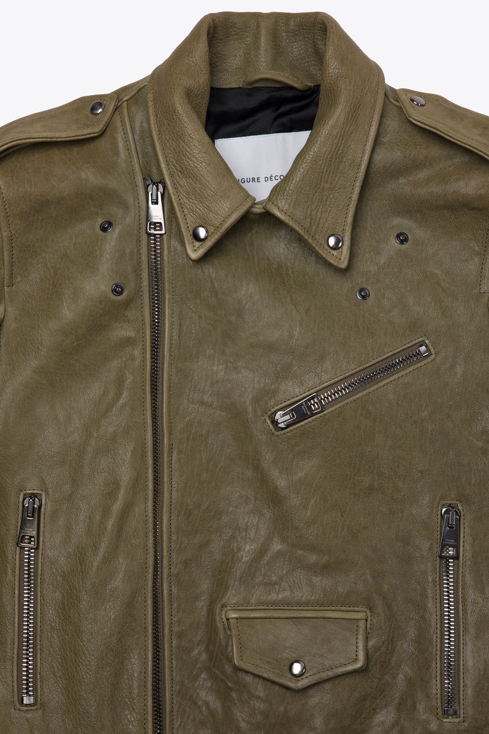 Leather Biker Olive Man