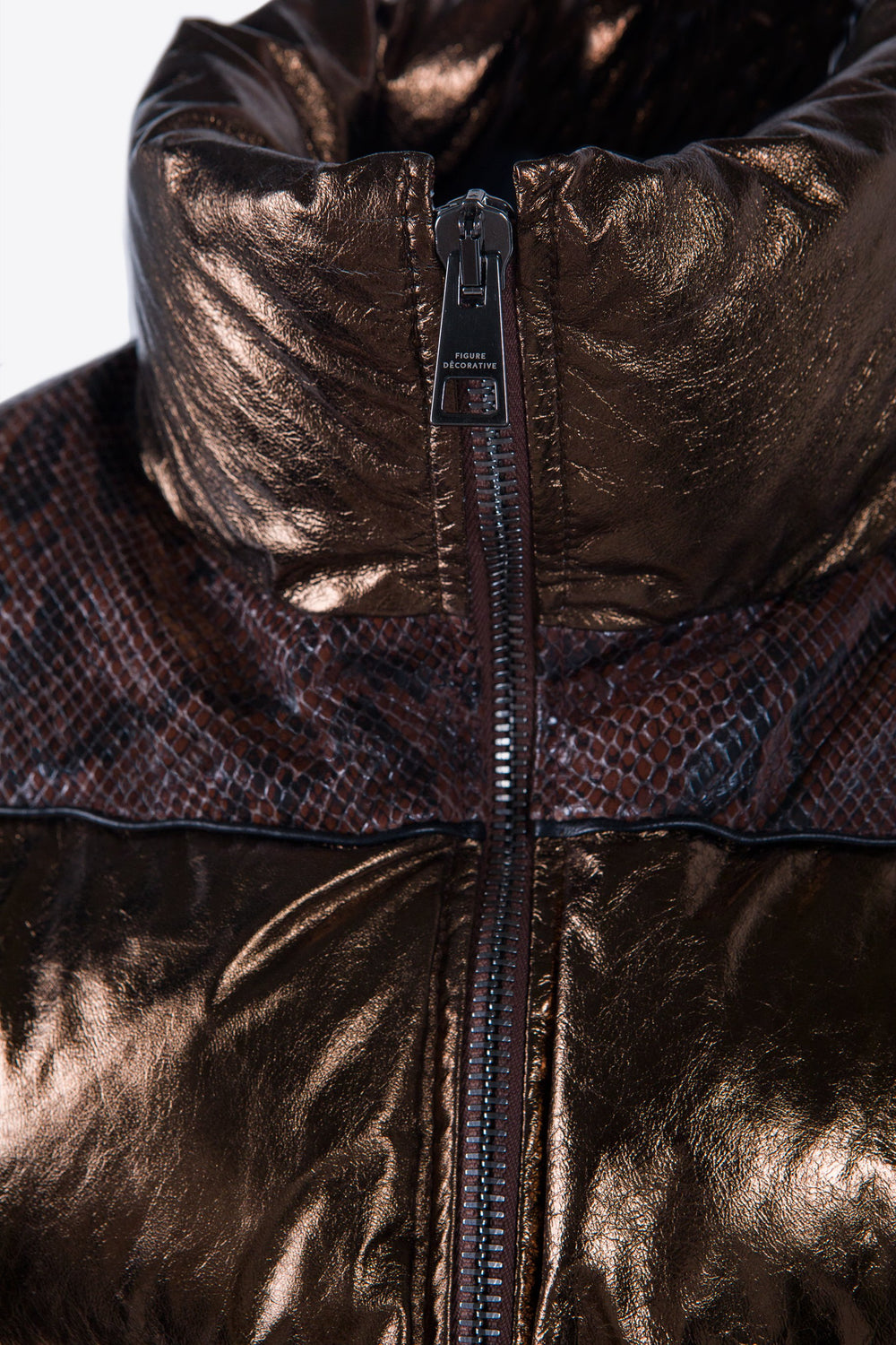 Leather Puffer Bronze and Python