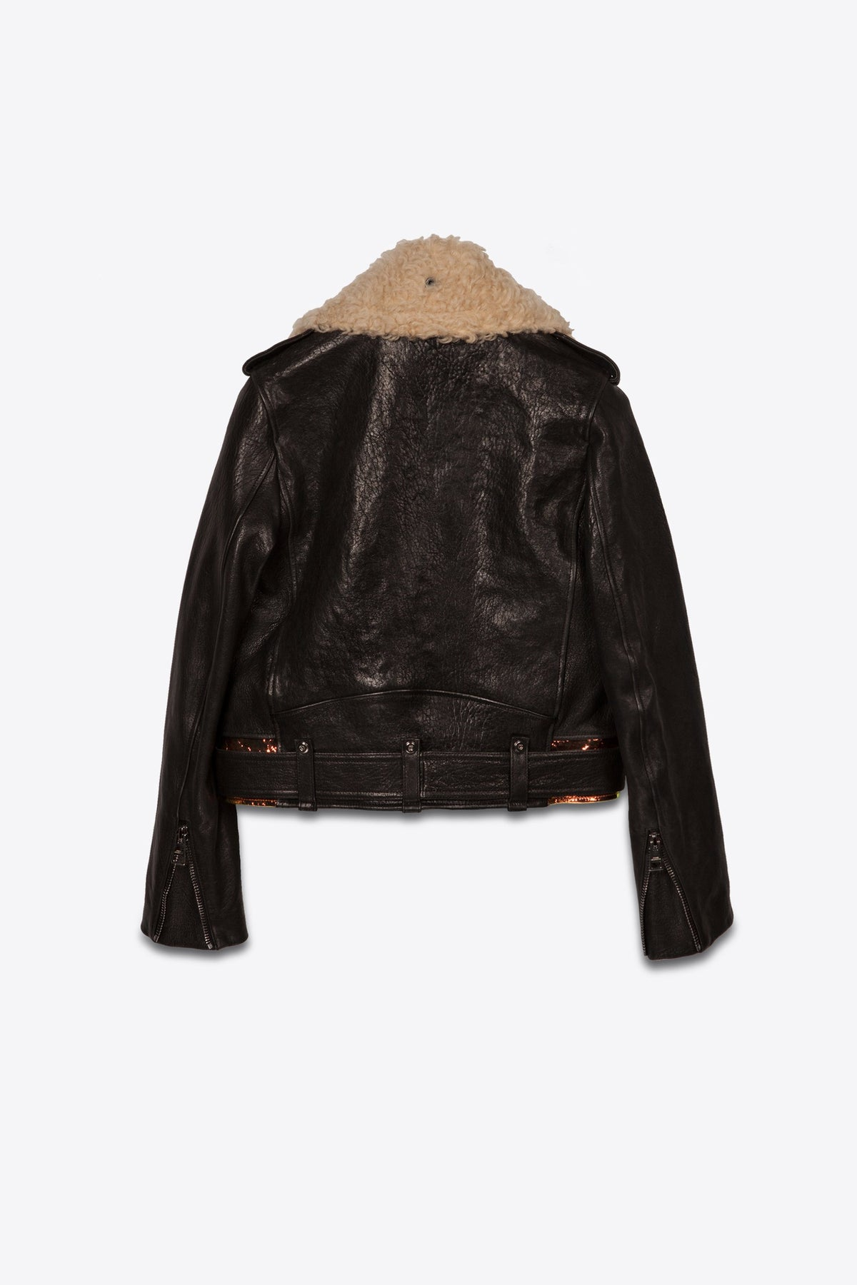 Shearling Collar Leather Biker