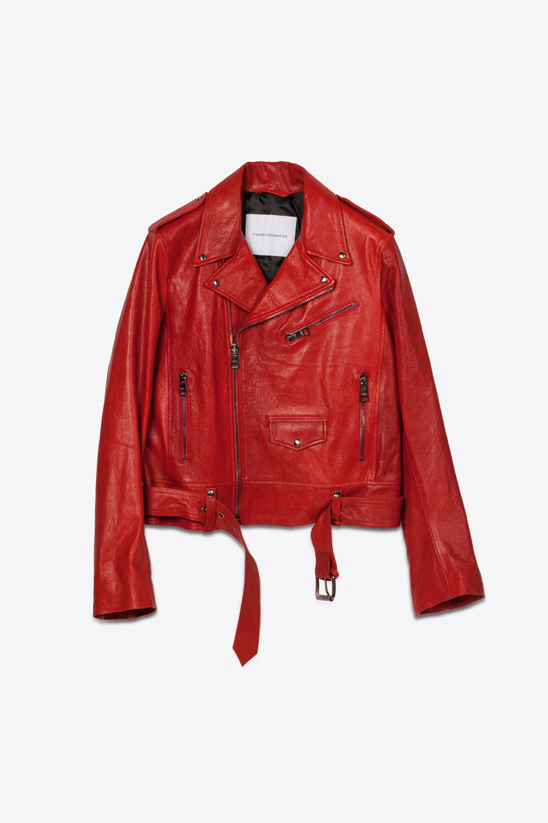 Leather Biker Red