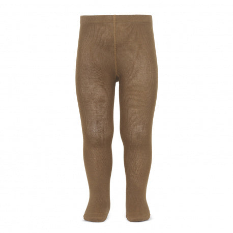 Plain basic tights - tobacco