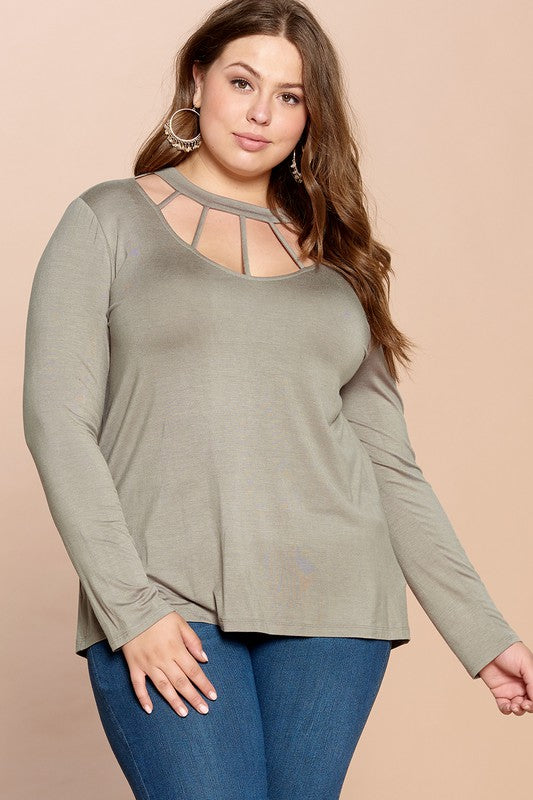 Curvy Caged Neck Top