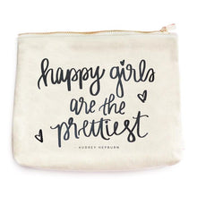 Load image into Gallery viewer, Happy Girls Are the Prettiest Makeup Bag
